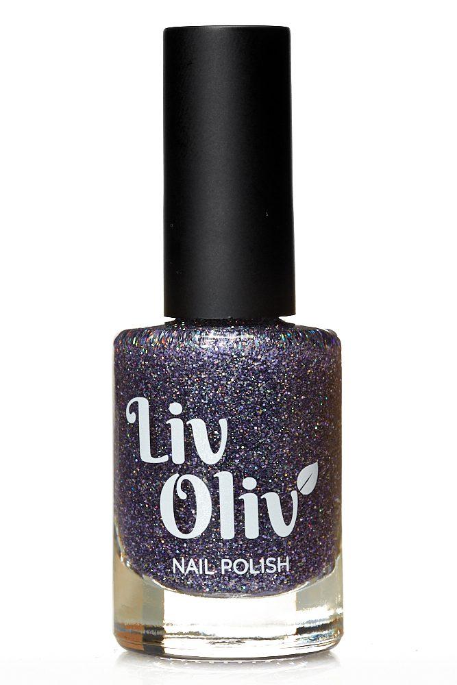 livoliv cruelty free purple glitter nail polish