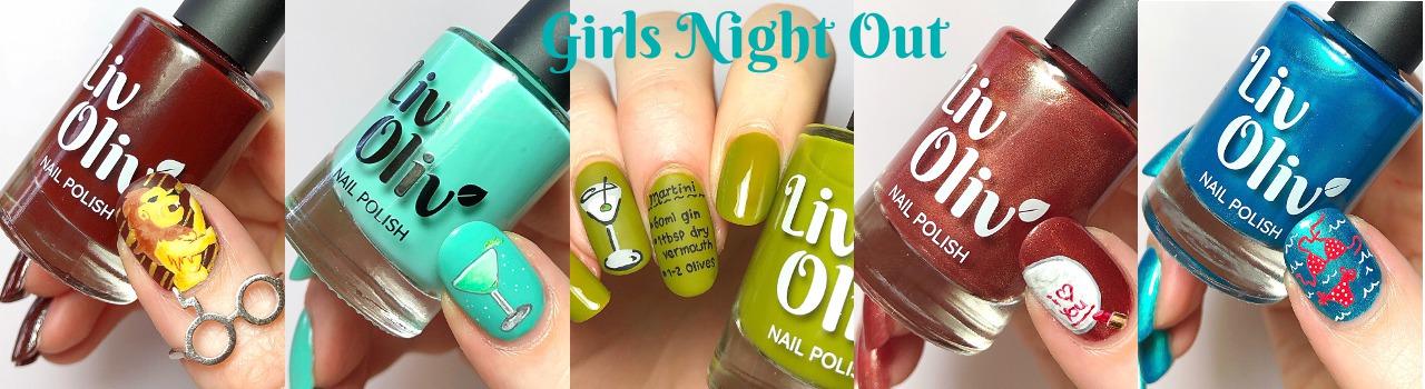 Close up of 5 nail polish with nail art